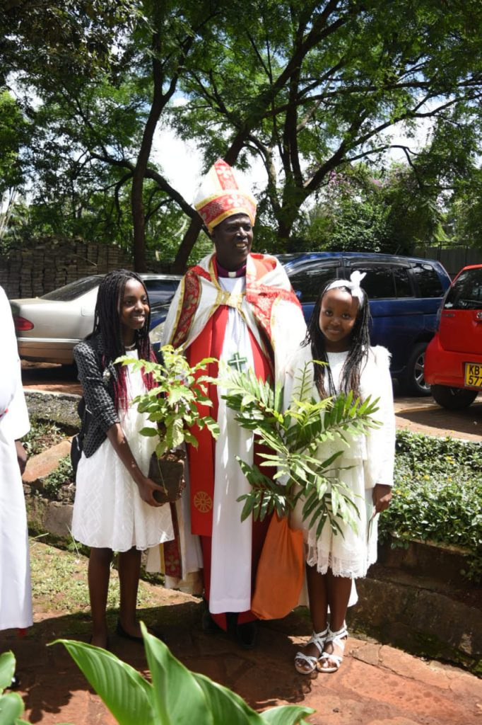 The Archbishop of Kenya blesses Confirmation Trees
